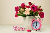 Bouquet Of Roses , Pink Alarm Clock And The Word