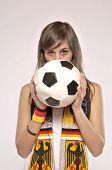 Soccer Fan Girl Holding The Ball