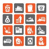 Silhouette Garbage and rubbish icons
