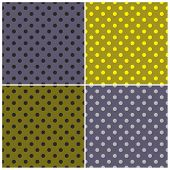 Tile vector dark pattern set with blue, grey, yellow and green polka dots background