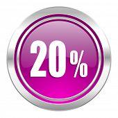 20 percent violet icon sale sign