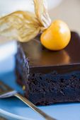 stock photo of chocolate fudge  - Chocolate fudge cake with gooseberry on top - JPG