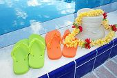 Flip flops and pool accessories