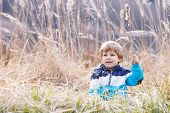 foto of bulrushes  - Little blond boy having fun with bulrush near forest lake nature on cold spring or autumn day - JPG