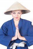 Girl In Dark Blue Kimono