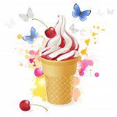 Ice cream over bright background