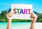 pic of fresh start  - Start card with a beach on background - JPG