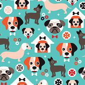 Seamless retro puppy dogs and colorful canine illustration background pattern in vector