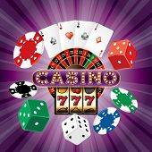 casino background with dices, cards, roulette, slot machine and chips on purple burst