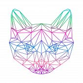 Polygonal Abstract Vector Gradient Colored Siamese Cat Silhouette Drawn In One Continuous Line
