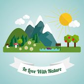 Flat Illustration With Natural Landscape