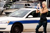 image of lightbar  - A police woman out protecting and serving the public - JPG
