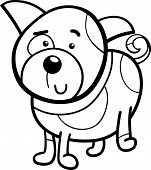 picture of spotted dog  - Black and White Cartoon Illustration of Cute Spotted Dog or Puppy for Coloring Book - JPG