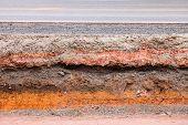 Layer of soil beneath the asphalt road