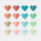 colorful flat hearts icons set on off white background