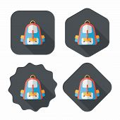 Backpack Flat Icon With Long Shadow,eps10