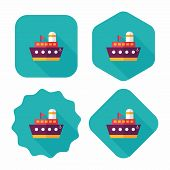 Ship Boat Flat Icon With Long Shadow,eps10