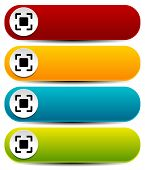 Rounded Horizontal Buttons In Several Colors With Simple Target Mark Or Generic Squarish Symbol
