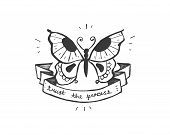 image of transformation  - Hand drawn vector illustration or drawing of a butterfly with a ribbon that says - JPG
