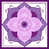 picture of intersection  - A purple abstract lotus blossom is centered in this tile design - JPG