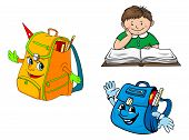Set of colorful vector school education icons