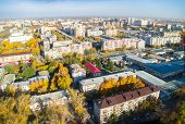 Tyumen city quarters from helicopter. Russia