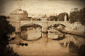 Old Postcard Styled View Of Saint Angel In Rome