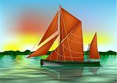 image of barge  - barge thames on thr river against a sky - JPG