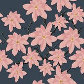picture of magnolia  - Seamless Pattern with Pink Magnolia Branch on a Grey Background - JPG