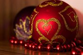 Christmas Ball With Gold Hearts