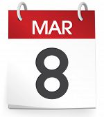Vector of a calender of the date March 8th.