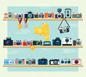 Photo Camera Icons Set On The Shelf