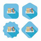 Bookshelf Flat Icon With Long Shadow