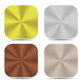 stock photo of bronze silver gold platinum  - The set of metal buttons are design for web and others - JPG