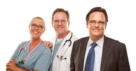 foto of medical office  - Smiling Businessman with Male and Female Doctor or Nurse Isolated on a White Background - JPG