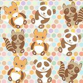 stock photo of raccoon  - Polka dot background pattern - JPG