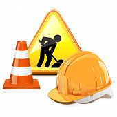 picture of cone  - Under Construction Concept with triangle sign - JPG