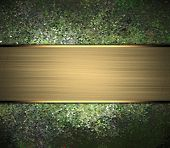 stock photo of nameplates  - Abstract rich green background with gold nameplate - JPG