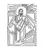 picture of jesus  - Hand drawn vector illustration or drawing of Jesus Christ Resurrection - JPG