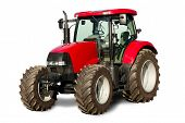 stock photo of tractor  - brand new isolated tractor prepared for sale - JPG