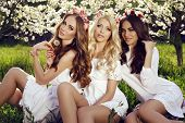 picture of headband  - fashion outdoor photo of beautiful charming girls in elegant dresses and flower - JPG