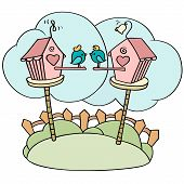 picture of bird-nest  - Cute cartoon birds in birdhouses - JPG