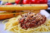 image of baguette  - Spaghetti Bolognese With Garlic Bread Baguettes and on the vine tomatoes - JPG