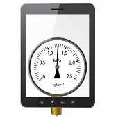 picture of manometer  - Tablet PC computer with manometer screen isolated on white background - JPG