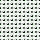 image of yang  - Green and White Yin Yang Tile Pattern Repeat Background that is seamless and repeats - JPG