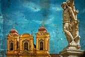 Постер, плакат: Old Postcard With German Dome And Holy Trinity Statue Timisoara Romania 2