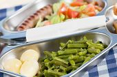 stock photo of canteen  - Tray of food in a school canteen - JPG
