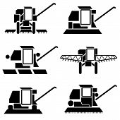 image of combine  - vector agricultural vehicles harvesting combine silhouettes set - JPG