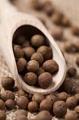 stock photo of flavor  - Allspice pepper flavour spice seeds in wooden spoon on textile background - JPG