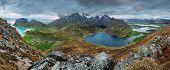 picture of lofoten  - Mountain panorama in Norway Lofoten with lake - JPG